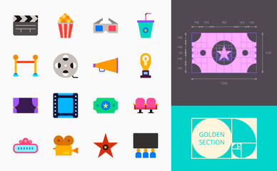 color cinema icons on a white background