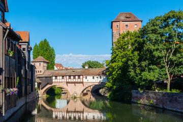 Wasserspiegelung Henkermeile Nürnberg Sommer