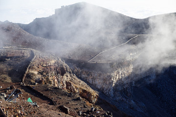 The Top Crater of the Mt. Fuji in Japan