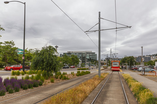Tramway and Street Scene in Seattle, USA