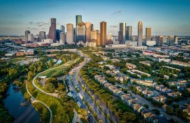 Autocollant pour porte Texas Houston, Texas Skyline At Sunset