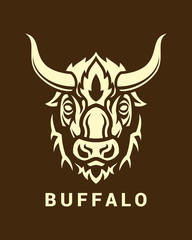 Buffalo head silhouette on shield vector emblem