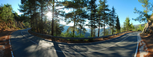 Beautiful Road in the Mountains of Cyprus island. Stitched Panorama