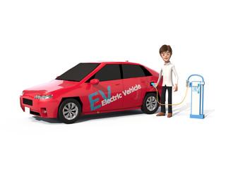 電気自動車と男性
