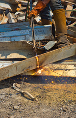 Construction Worker - Cutting Steel - Oxyacetylene Torch