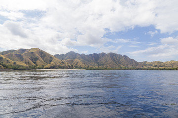 View of part of Komodo Island from the water.