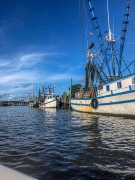 old fishing and shrimping boats in Charleston, South Carolina