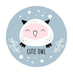Vector illustration of Cute owl.Scandinavian motives. Cartoon background.