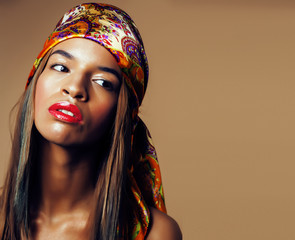 young pretty modern african american girl with bright fashion ma