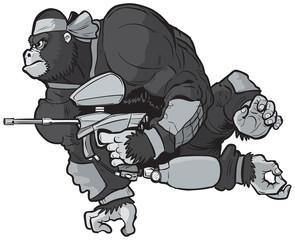 Gorilla Playing Paintball Vector Cartoon Illustration