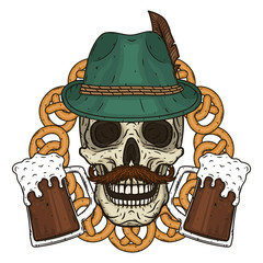Vector illustration of oktober fest. Skull in Tyrolean hat, with pretzels and glasses of beer.