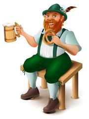 German in traditional costume with red beard drinks beer. Oktoberfest beer festival