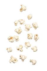 Popcorn falling isolated on white background.