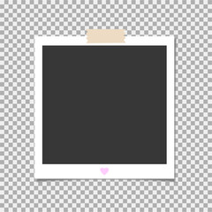 Photo frame with adhesive tape. Vector template for your trendy photo or image