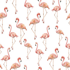 Tuinposter Flamingo Watercolor flamingo pattern