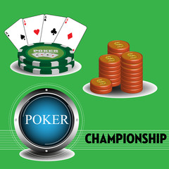 Colorful illustration with stack of coins, poker chips and poker cards. Poker championship theme