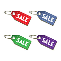 Four sale tags isolated on a white background