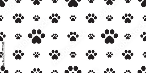 Dog Paw Seamless Pattern Vector Footprint Heart Valentine Kitten Puppy Tile Background Repeat Wallpaper Isolated Cartoon
