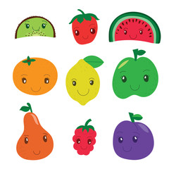 Kiwi, strawberry, watermelon, mandarin, lemon, apple, pear, raspberry, plum. Fruit and berry collection. Vector cartoon smiling characters. Colorful cute set. Fresh healthy food. Vegan menu