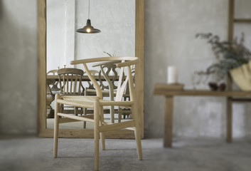 Vintage style interior with chair reflection