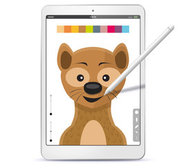 Drawing Weasel With Graphic Tablet Computer and Pen