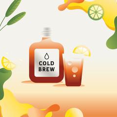 colorful nitro cold brew illustration