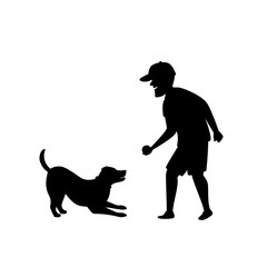 silhouette of a man playing fetching ball game with dog graphic