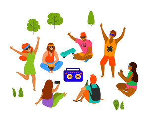 group of yong people, men and women celebrating, dancing, party, playing chilling in the park isolated vector illustration scene