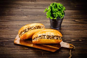 Hot dog on cutting board
