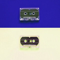 Flat lay retro colorful cassette tape on pastel color background, minimal style