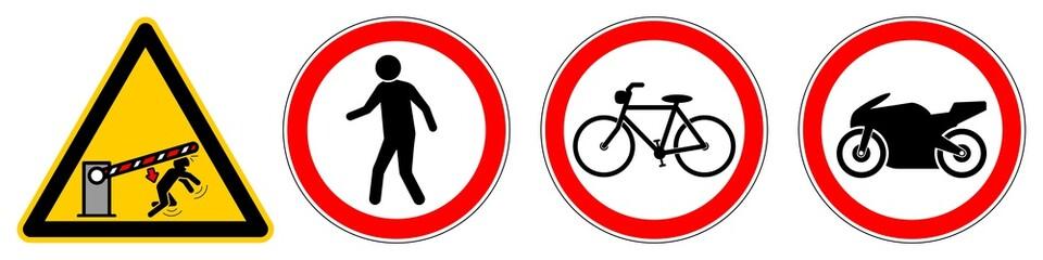 absc6 AutomaticBarrierSignCaution absc - nlwb8 NewLongWarningBanner nlwb - german Warnbanner - Einfahrt: Schranke Parkplatzschranke / Schrankenbaum rechts 4zu1 - english warning sign right 4to1 g6466