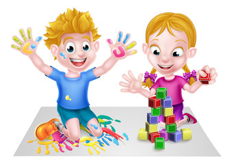 Cartoon Boy and Girl Playing With Blocks and Paint