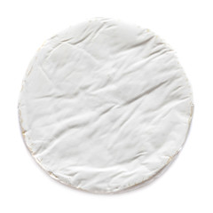 White Soft Brie Cheese. Camembert  isolated on white background, top view. .