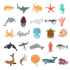 Sea animals color vector icons set. Flat design