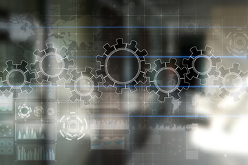 Gears on virtual screen. Business strategy and technology concept. Automation process.