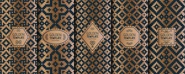 Set of golden luxury templates. Abstract geometric background. Vector illustration.