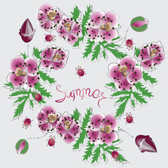 Pink poppies and the word SUMMER. Poster, postcard. Flowers on a light background with place for text. Design for print on fabric or paper background image.