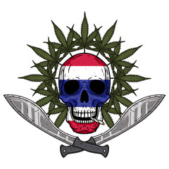 Human skull with two crossed machetes, marijuana leaf and Thai flag in hand drawn style. Rastaman skull with cannabis leafs.