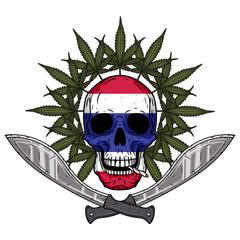 Human skull with two crossed machetes, marijuana leaf and Thai flag in hand drawn style. Rastaman skull with cannabis leafs.