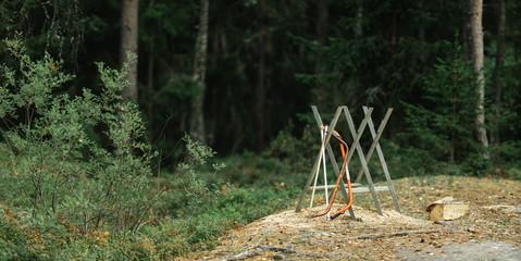 Bow saws on a sawbuck