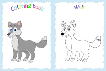 Coloring book page for preschool children with colorful wolf