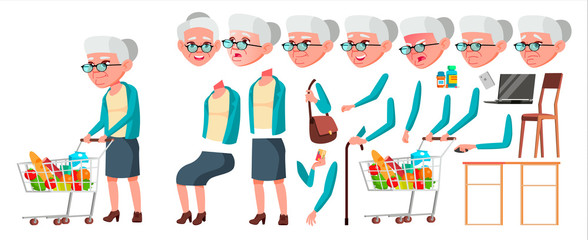 Old Woman Vector. Senior Person Portrait. Elderly People. Aged. Animation Creation Set. Face Emotions, Gestures. Beautiful Retiree. Life. Print Design. Animated. Isolated Cartoon Illustration