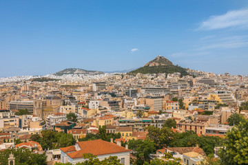 Vue sur Athènes et le Mont Lycabette, depuis l'Acropole