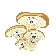 Cute cartoon smiling oyster mushrooms. Vector illustration.