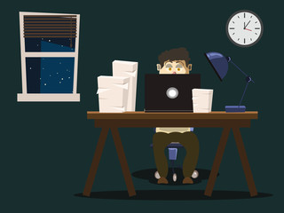 workspace with people vector illustration