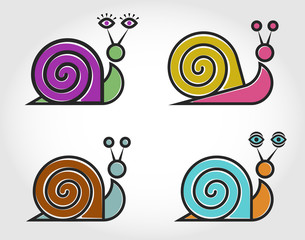 Four vector linear color logo of the snail.