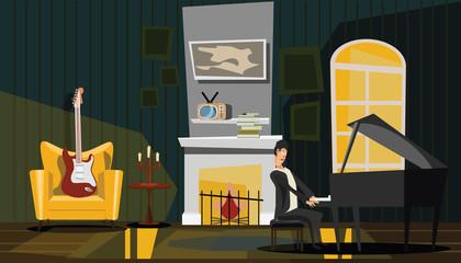 musician house vector illustration