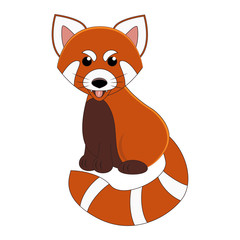 Cute cartoon red panda. Exotic animal. Vector illustration. Isolated on white