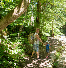 Family walking in a forest