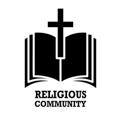 religious community. Emblem with Holy Bible and cross. Design element for poster, logo, badge, sign.